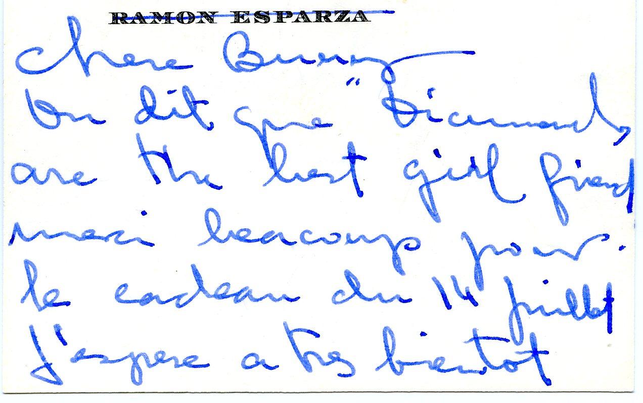 Nota escrita por Ramon Esparza a madame Paul Mellon
