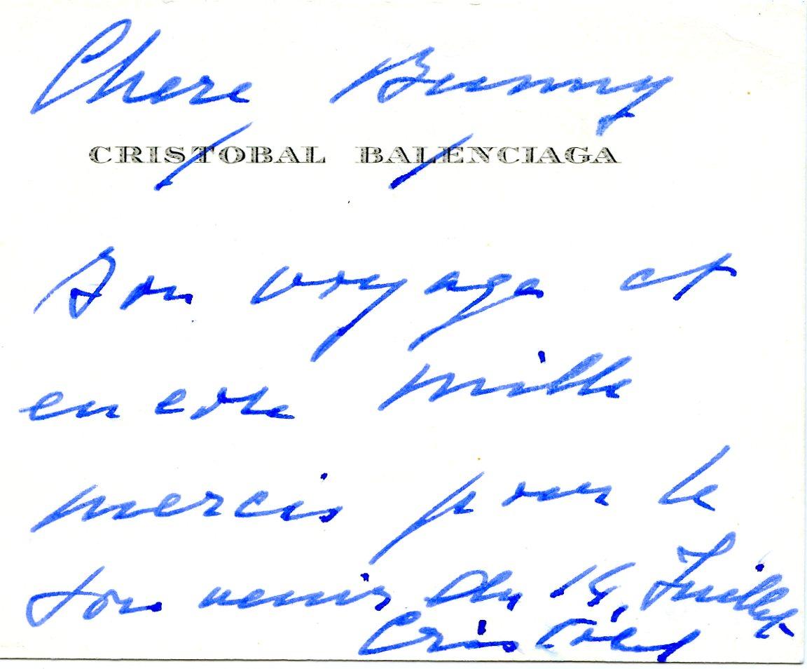 Nota escrita por Cristobal Balenciaga a madame Paul Mellon.