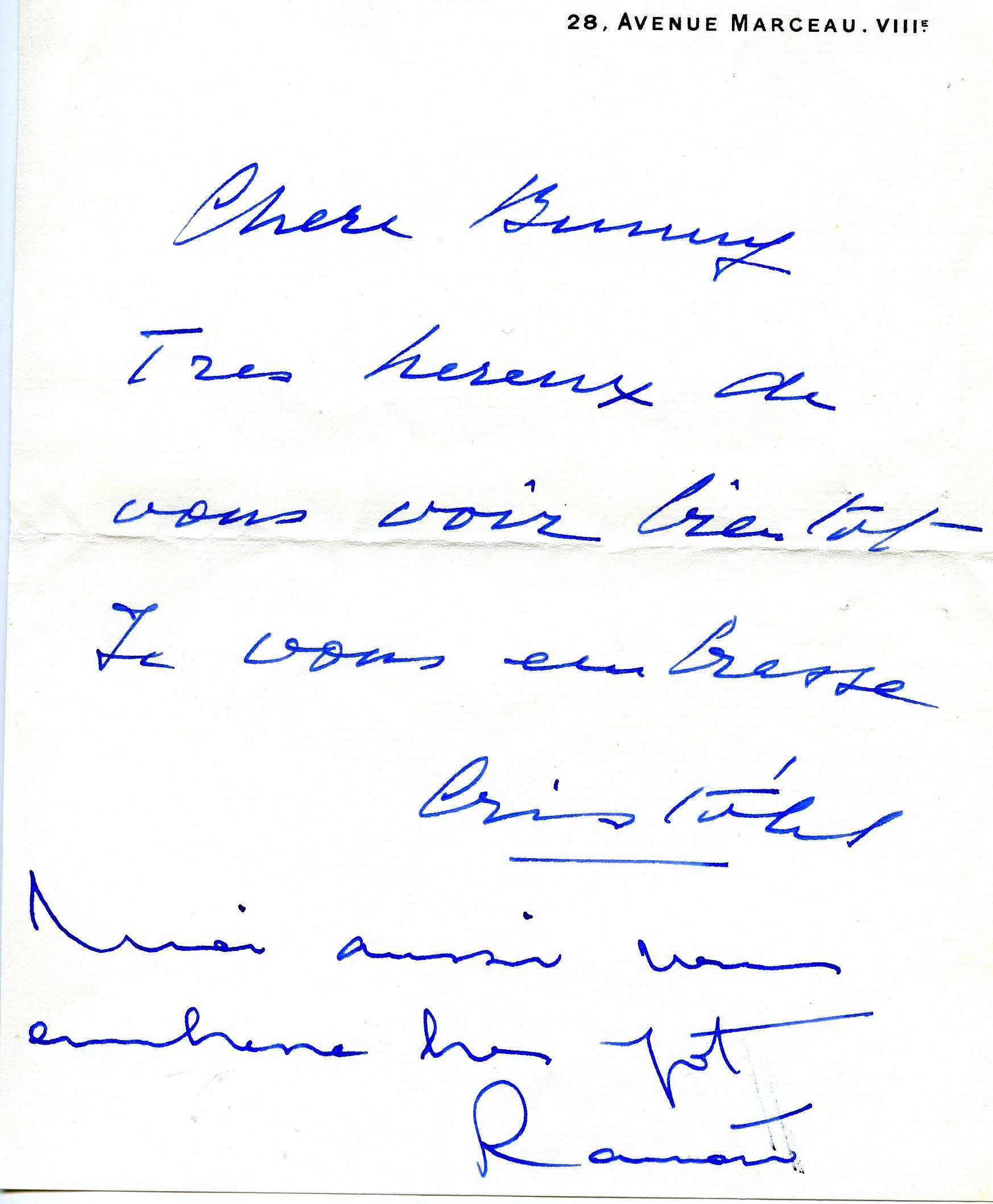 Nota escrita por Cristobal Balenciaga y Ramon Esparza a madame Paul Mellon.