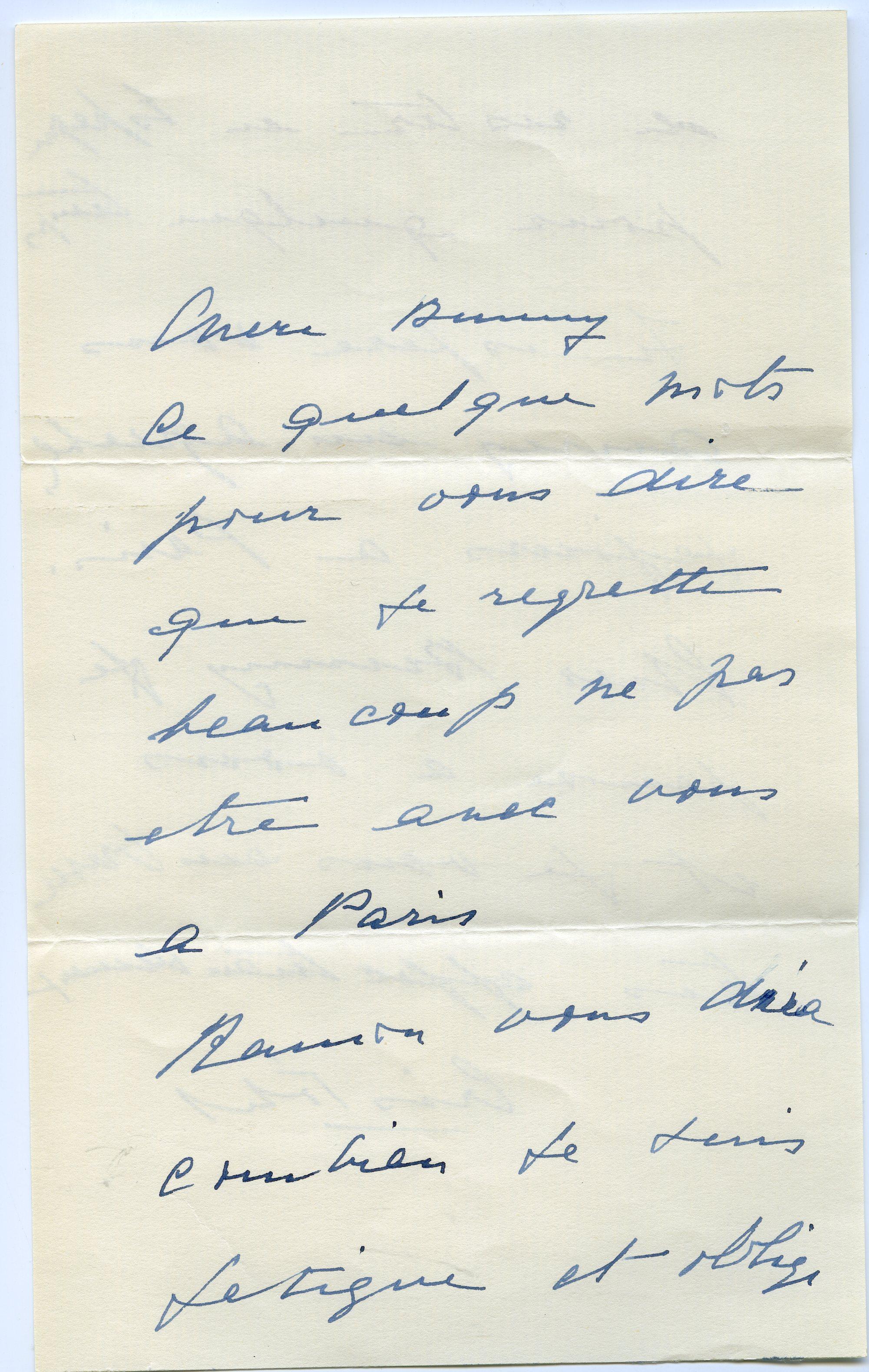 Carta enviada  Balenciaga a madame Paul Mellon