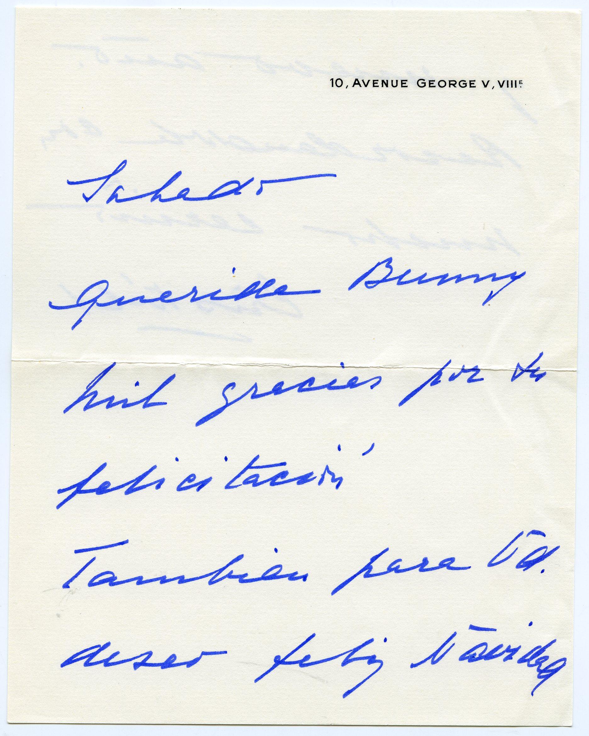 Carta enviada por Balenciaga a madame Paul Mellon