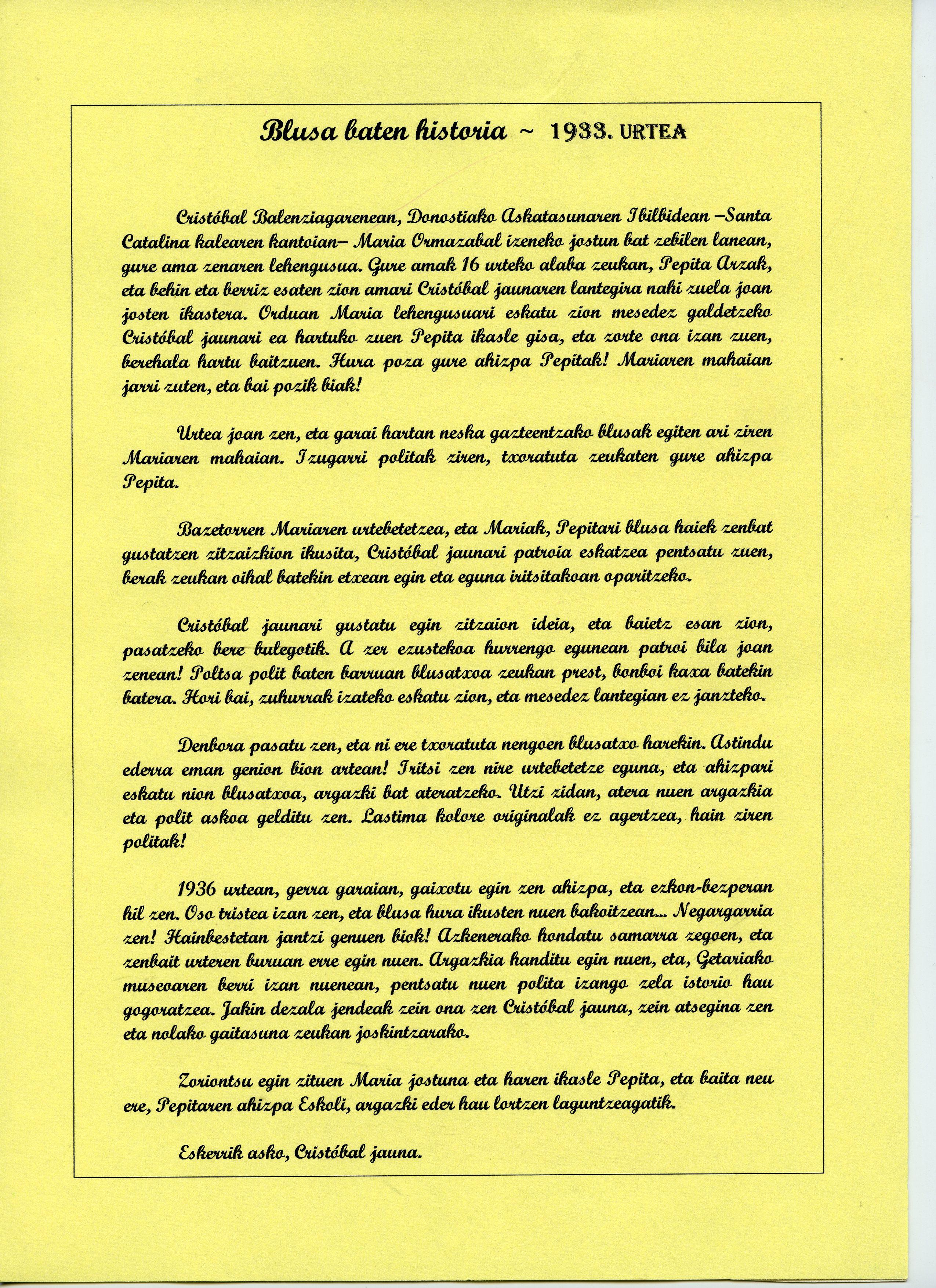 Documento escrito y firma de Escolastica Arzak Mugica