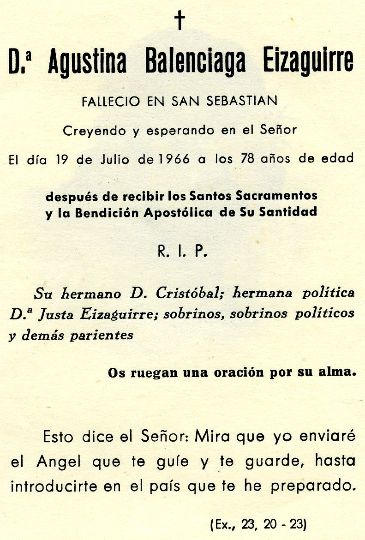 Recordatorio de la muerte de Agustina Balenciaga Eizaguirre.