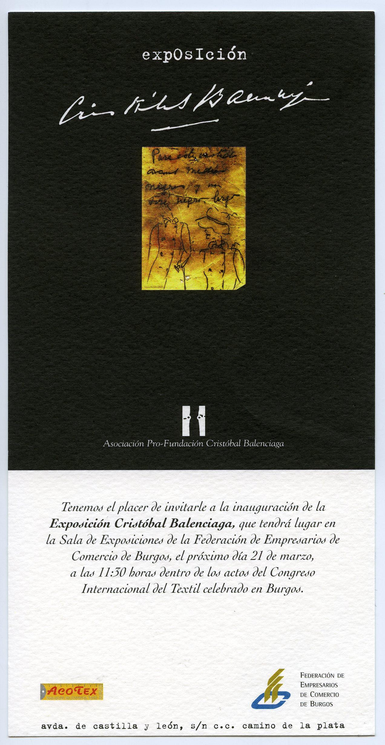 Invitación de la Fundación Critóbal Balenciaga