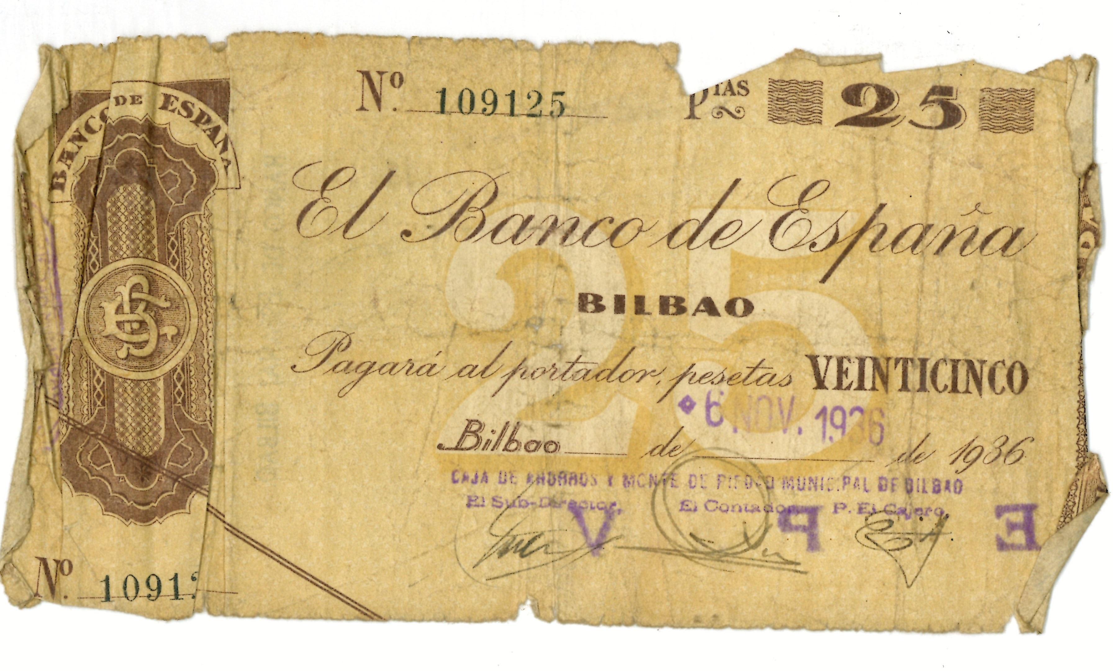 Talón de 25 pesetas