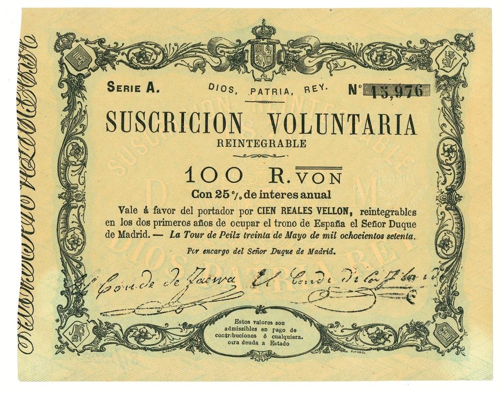 Vale carlista de 100 reales de vellón