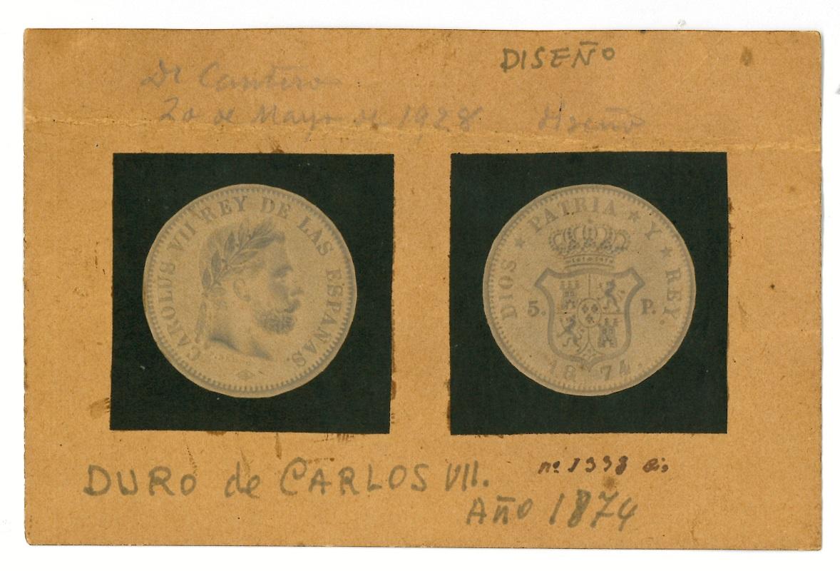 Diseño de moneda de 5 pesetas de Carlos VII