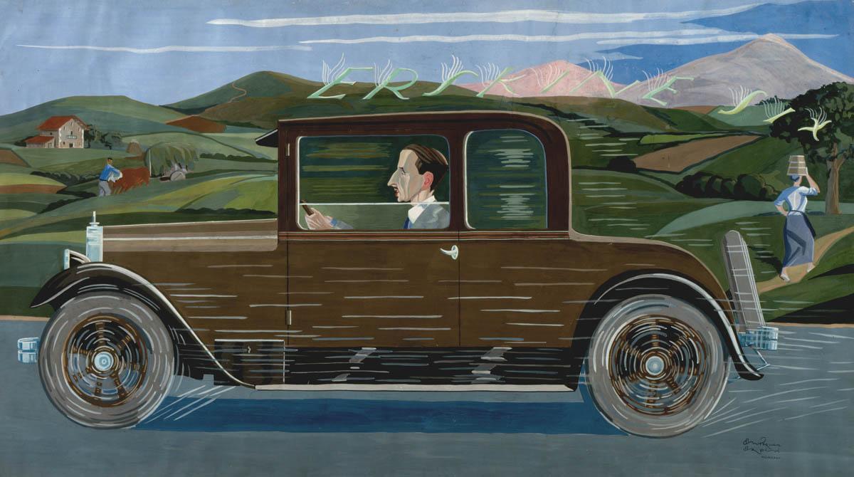 Vicente Ameztoy conduciendo un coche Erskine Six