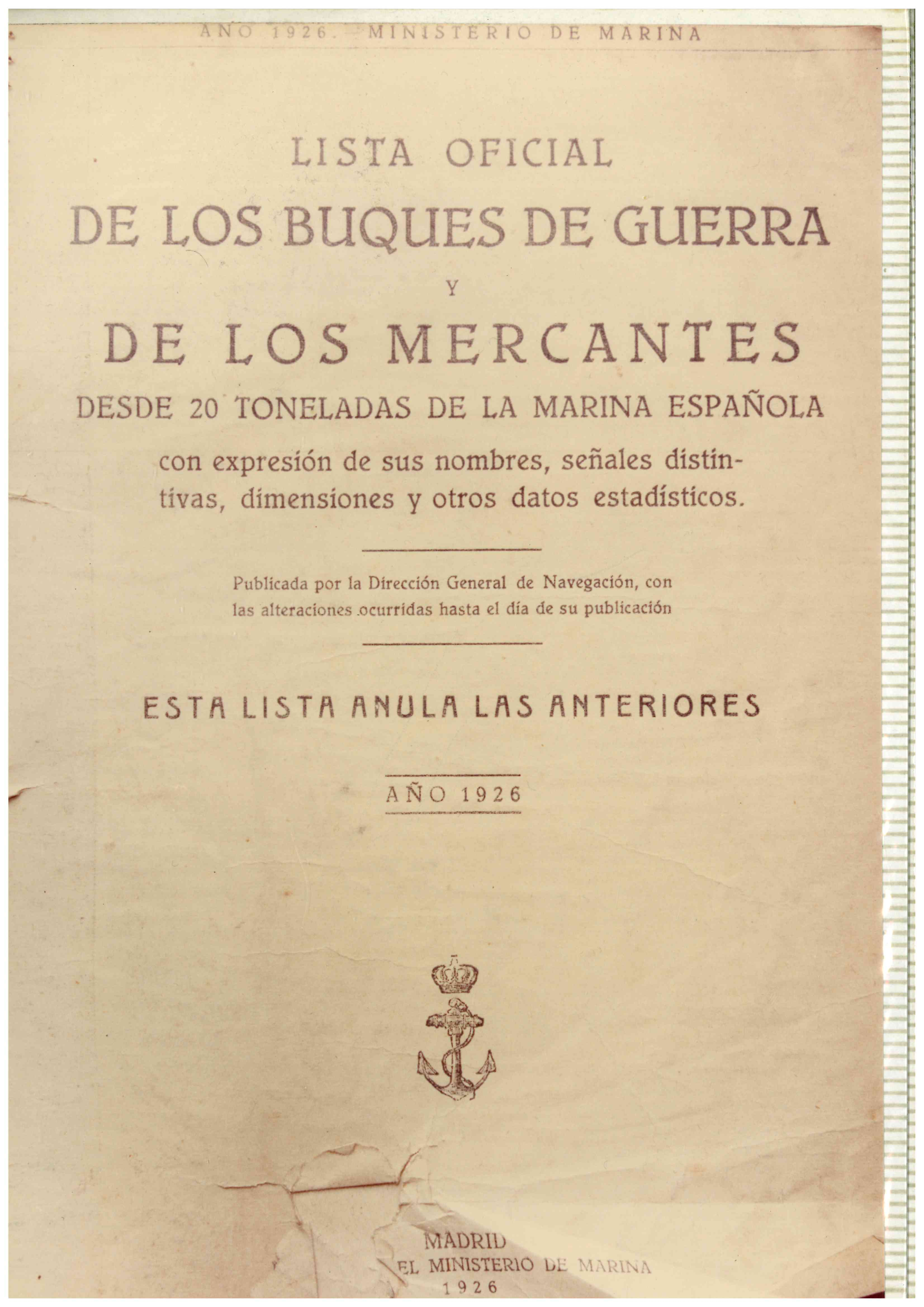 Lista Buques de Guerra y Mercantes