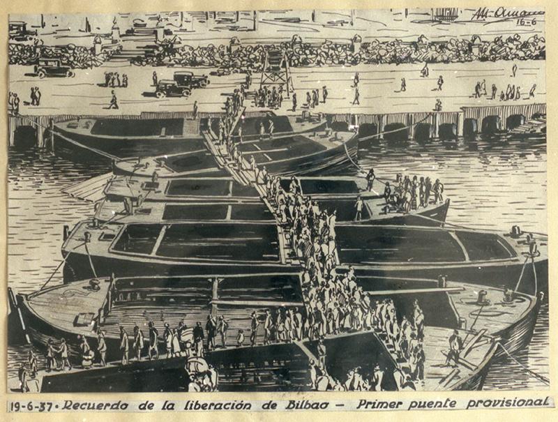 """""""19-6-37. Recuerdo de la liberación de Bilbao - Primer puente provisional"""""""