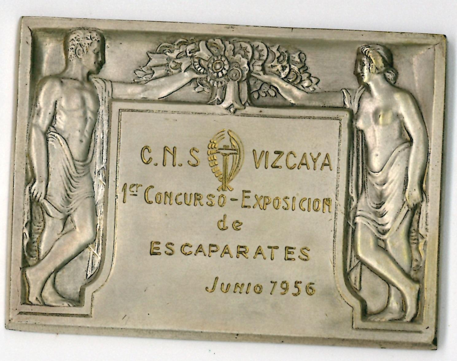 Placa conmemorativa del I Concurso de Escaparates de Bizkaia