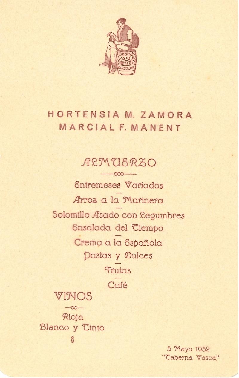 Menú de la Taberna Vasca, Barcelona
