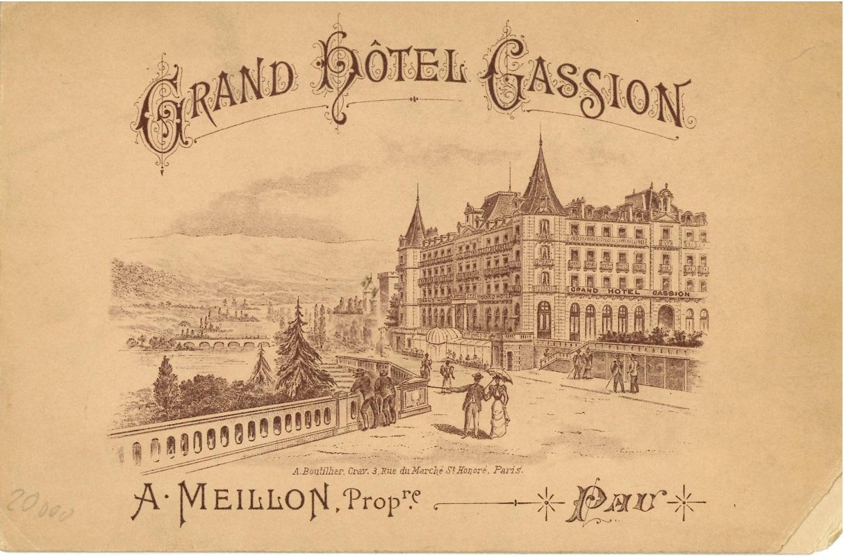 Tarjeta de menú del Grand Hotel Gassion