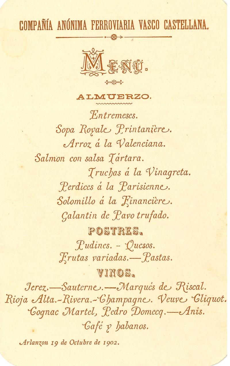 Banquete de la Compañía Anónima Ferroviaria Vasco Castellana