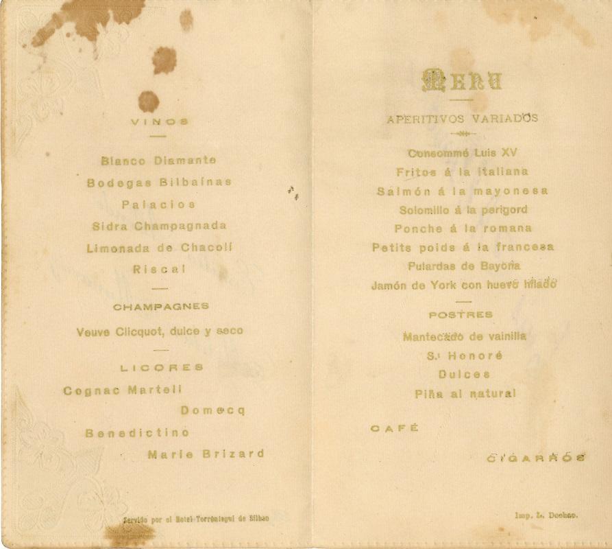 Menú del Hotel Torrontegui
