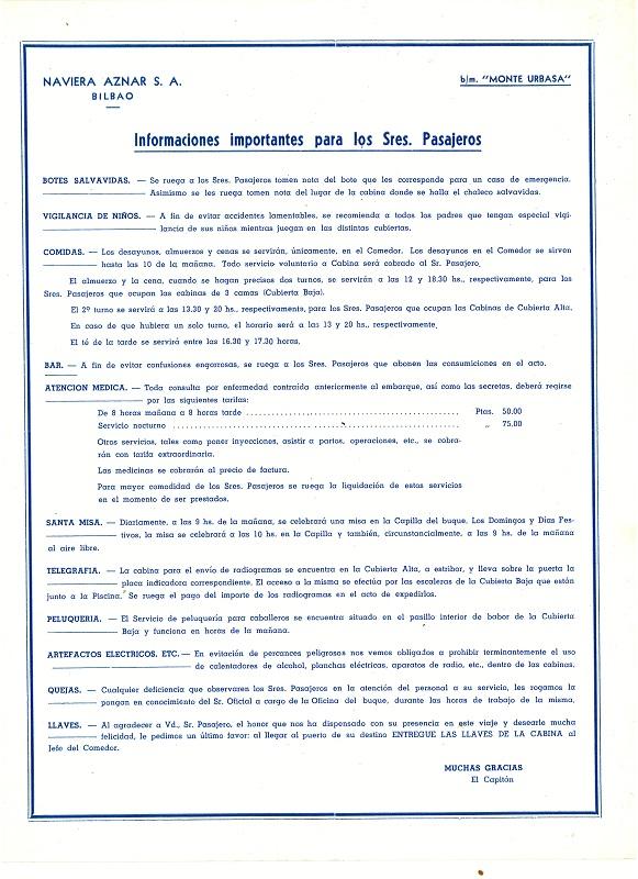 """""""Informaciones importantes para los señores pasajeros"""""""