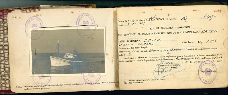 """Rol de despacho y dotación del barco """"Artadi"""""""