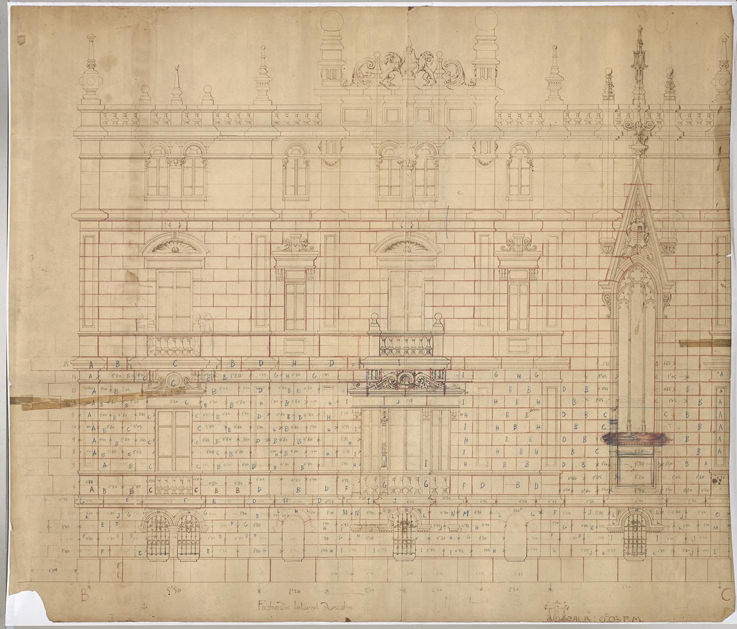 Proyecto del Palacio Augustin Zulueta. Fachada lateral derecha