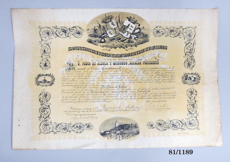Título de Distinción a los Defensores de Bilbao en 1874