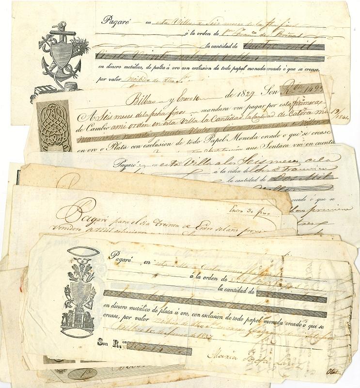 Pagarés del comerciante Francisco de Briñas