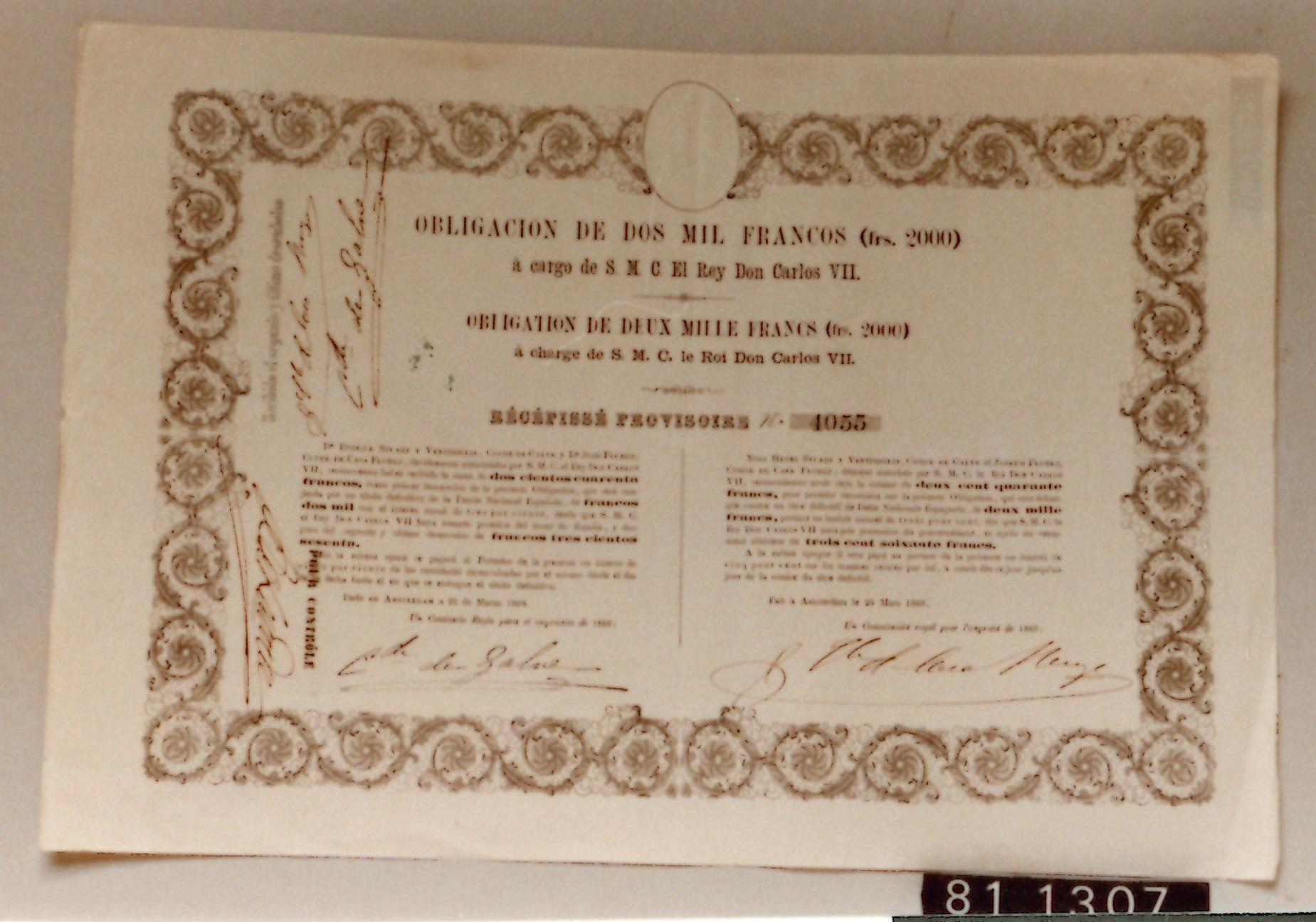 Obligación carlista de 2000 francos