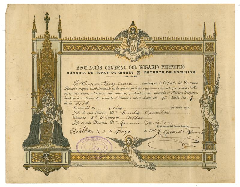 Patente de admisión en la Guardia de Honor de María de la Asociación General del Rosario Perpetuo