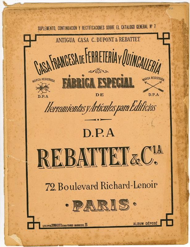 Casa francesa de Ferretería y Quincallería Rebattett & Cia
