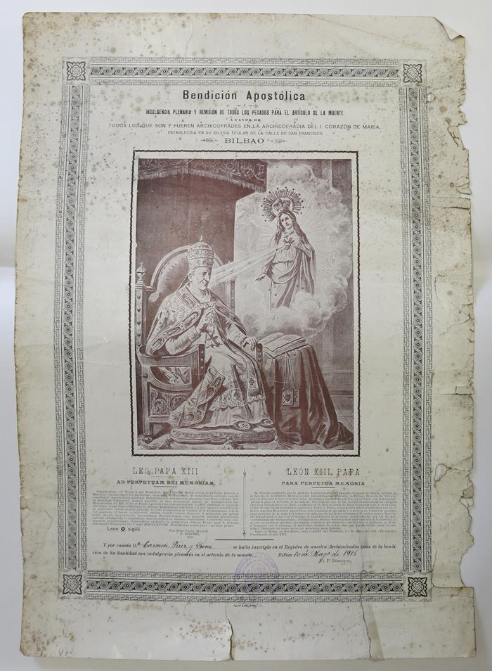 Bendición Apostólica a la Archicofradía del Inmaculado Corazón de María