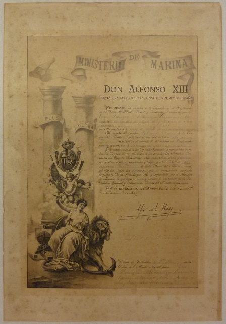 Cédula de caballero de 2ª clase de la Orden del Mérito Naval para Don Francisco Andonaegui