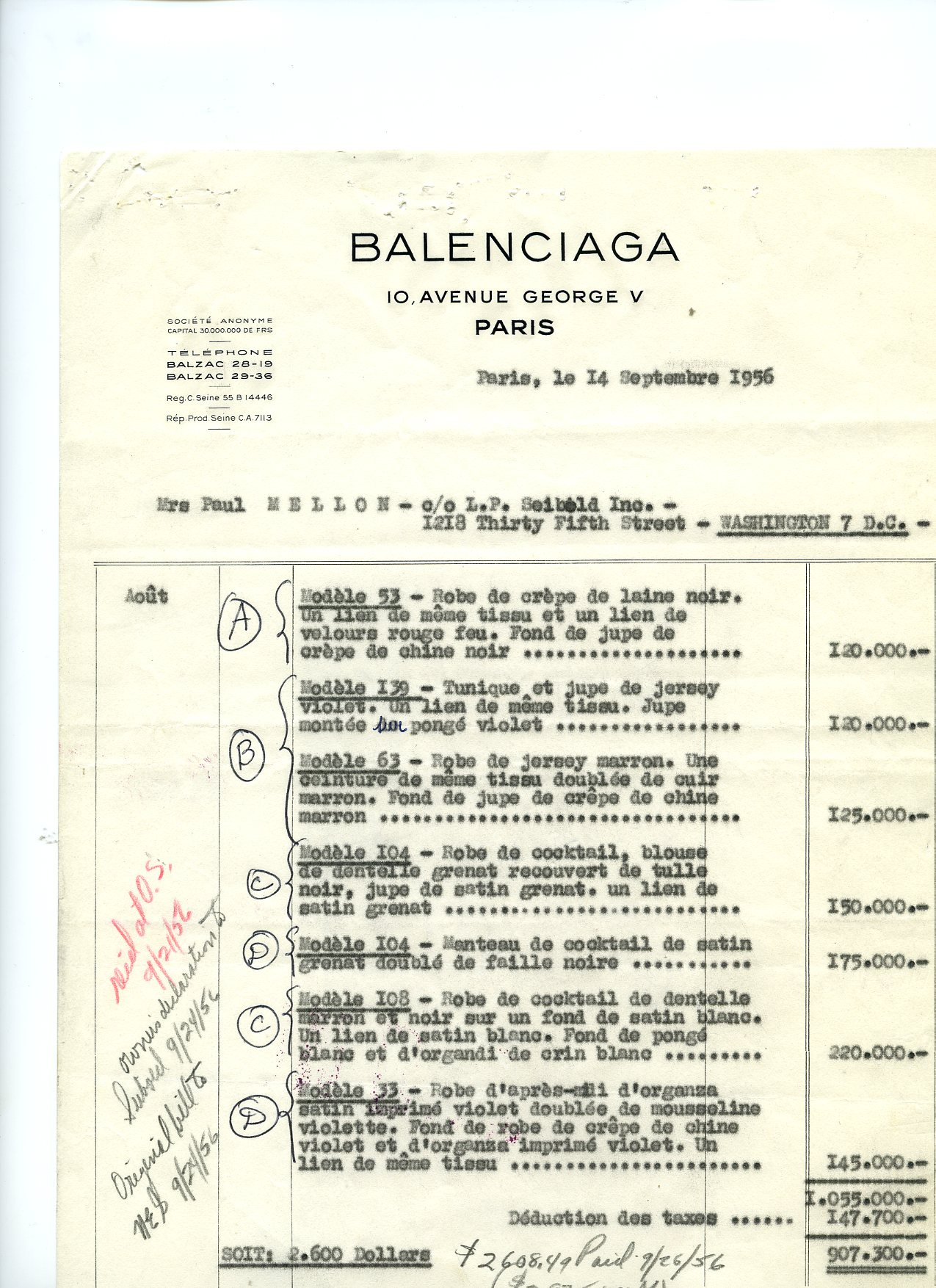 Factura de  BALENCIAGA para Mrs.Paul Mellon