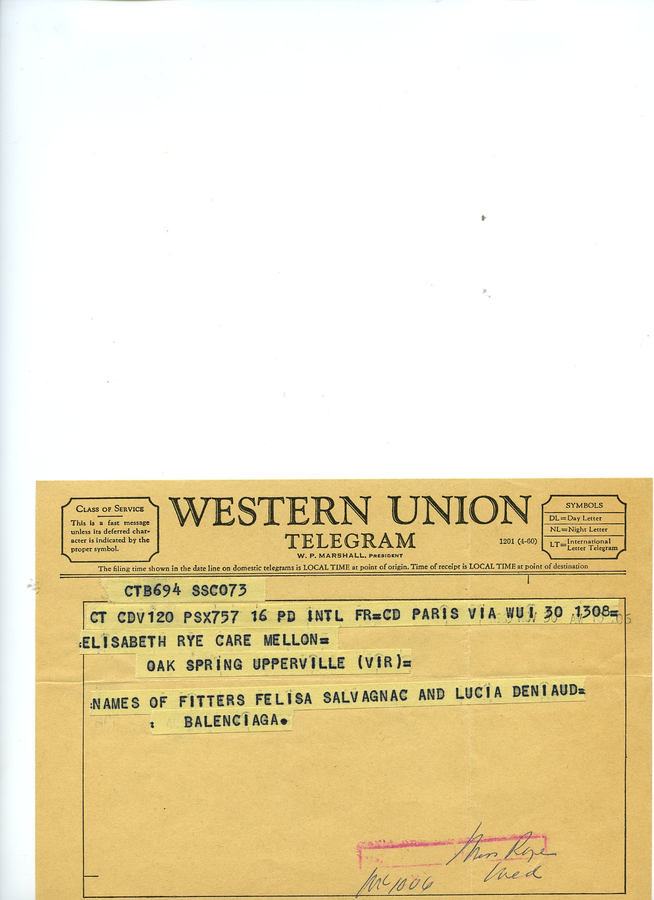Telegrama dirigido a Elizabeth Rye Care, secretaria de Mrs Mellon, desde Balenciaga