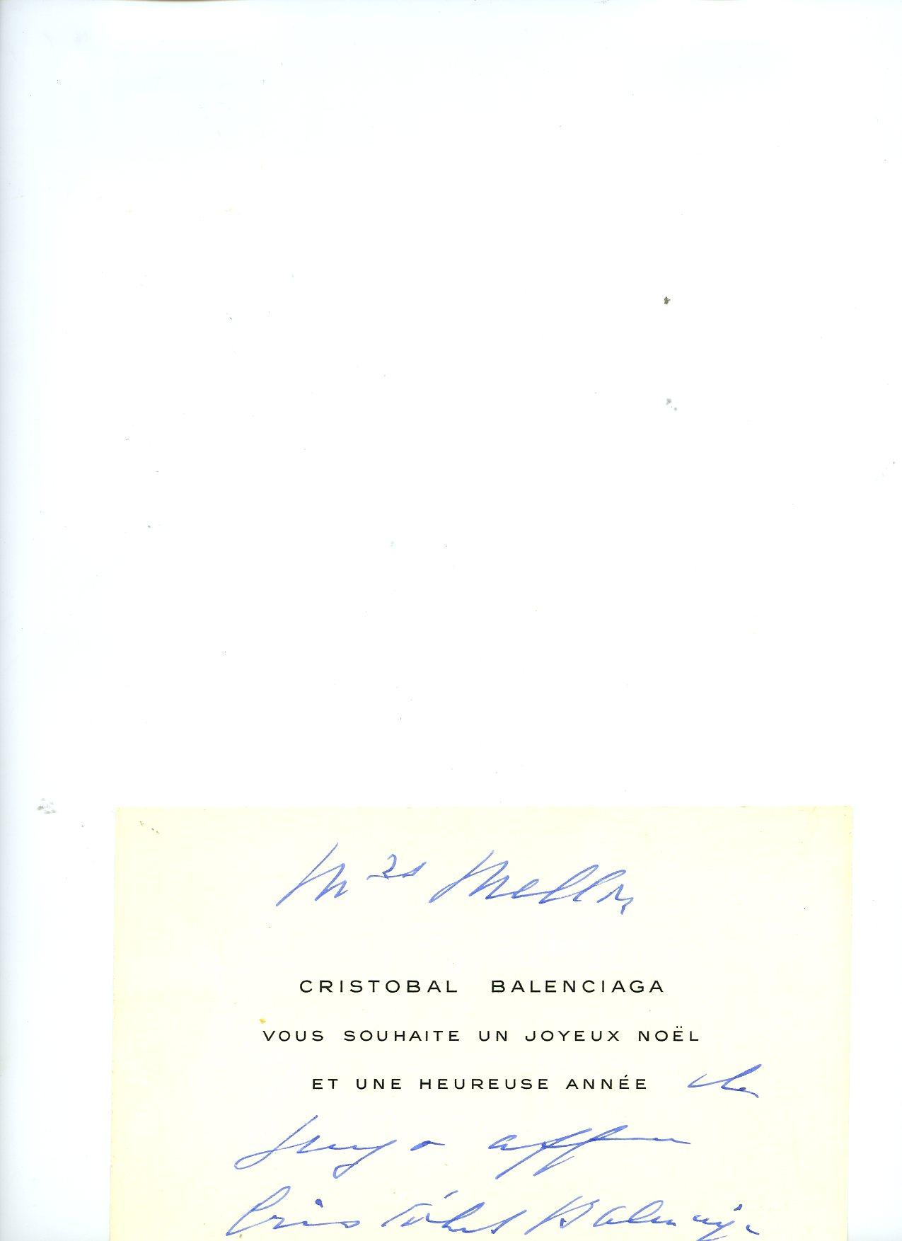 Tarjetón dirigido a Mrs Mellon, por Cristóbal Balenciaga