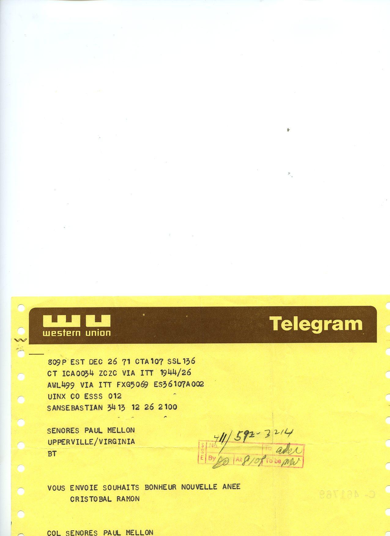 Telegrama dirigido a Mrs Mellon, por Cristóbal Balenciaga y Ramón Esparza