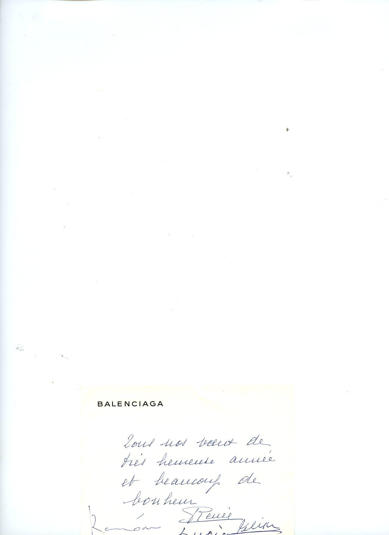 Tarjeta BALENCIAGA , de  felicitación navideña.