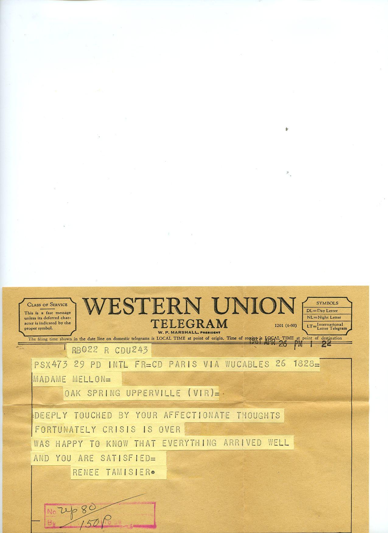 Telegrama dirigido a Mrs Mellon, por Mme Renée Tamisier