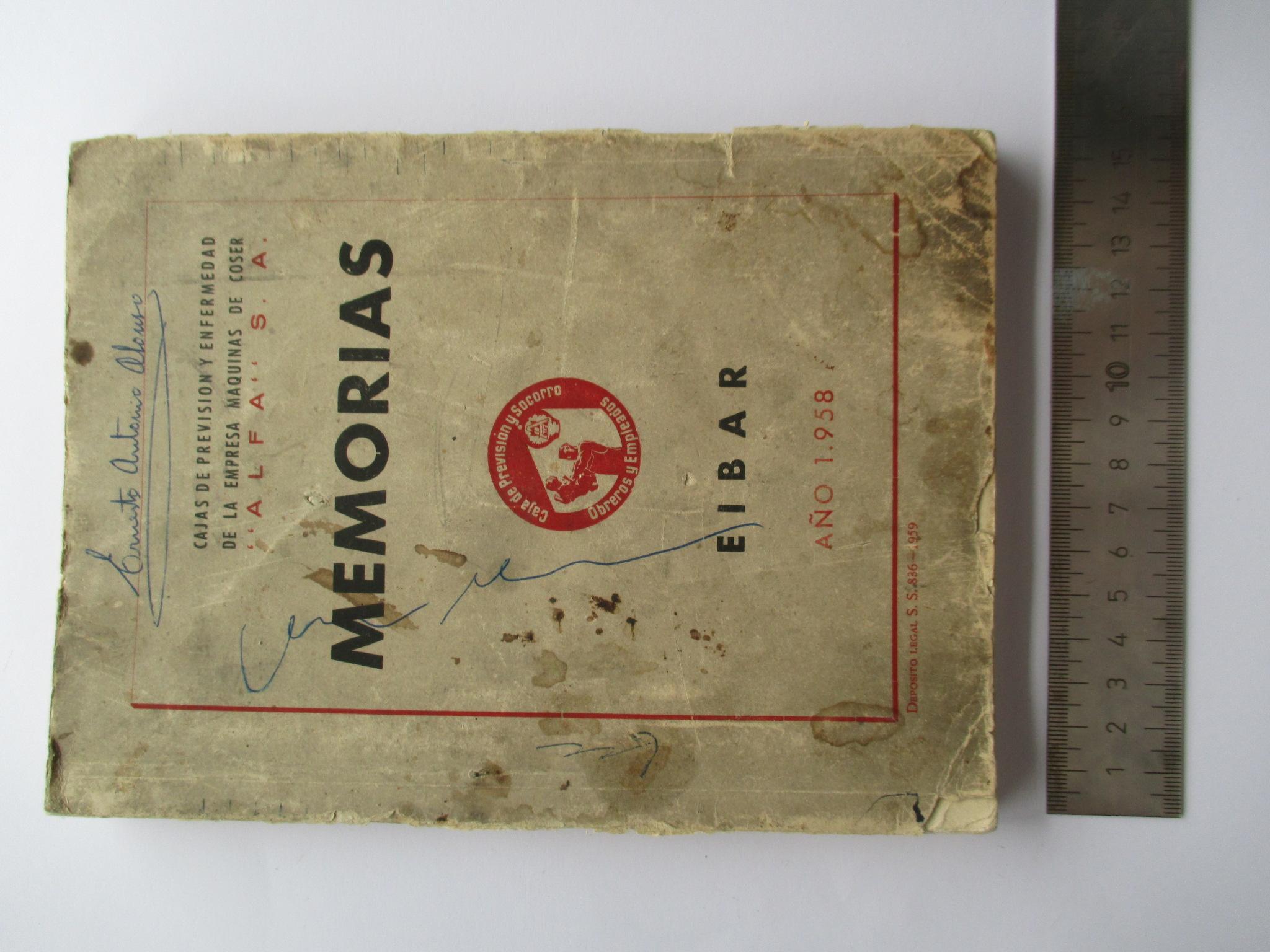 """Caja de Previsión y Enfermedad de la Empresa de Máquinas de Coser """"ALFA"""" S.A. Memorias 1958."""