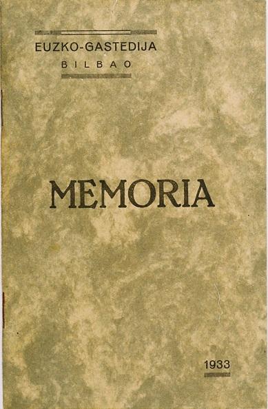 Eusko Gastedija. Memoria 1933