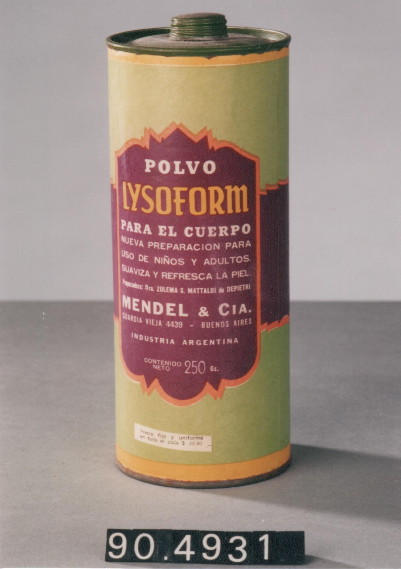 """Bote de polvos de talco """"Lysoform"""""""