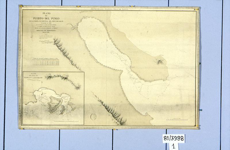 """""""Plano del puerto del Pusgo, en la costa occidental del seno de Ragay"""""""