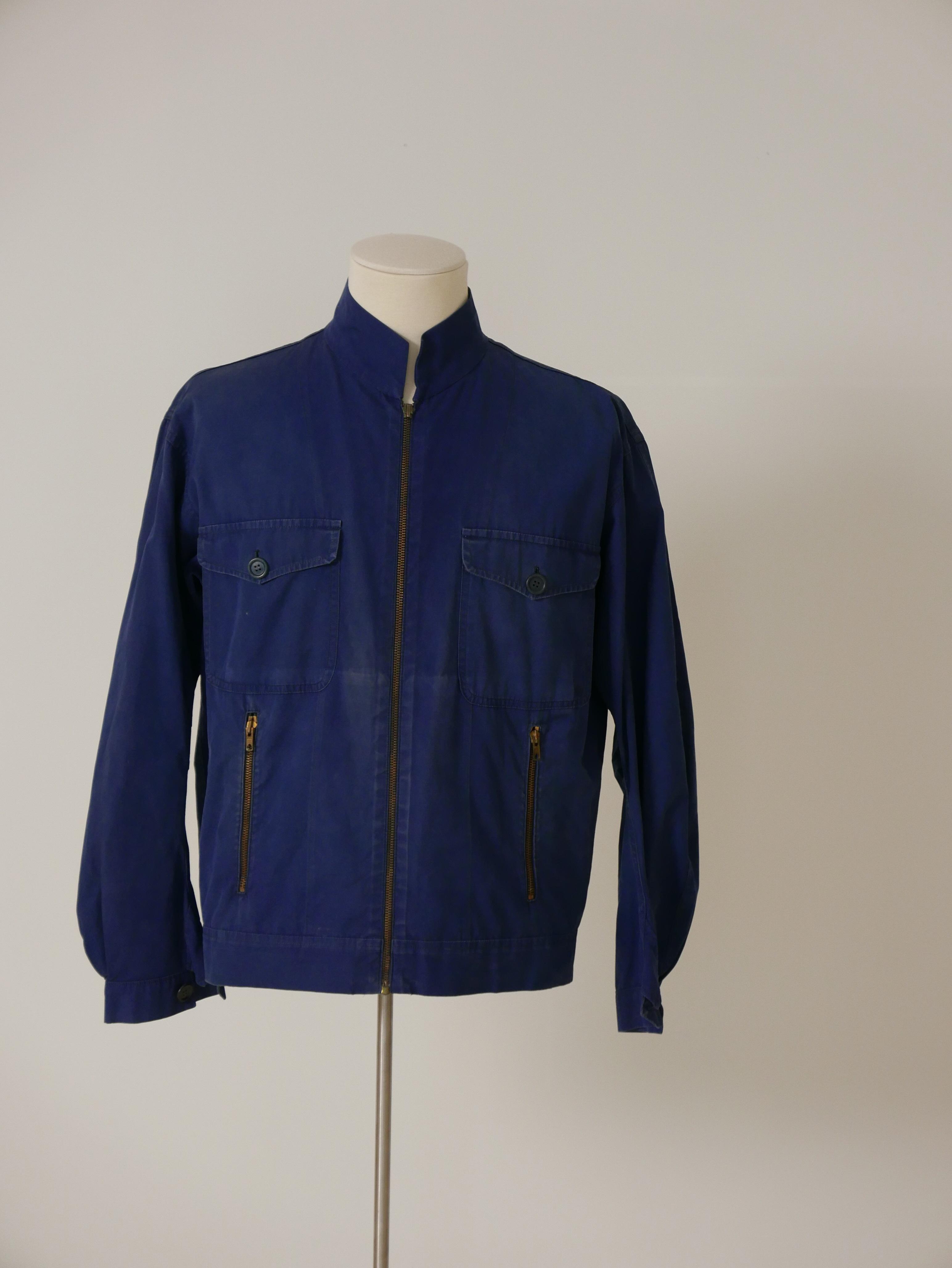 Cazadora recta en algodón azul