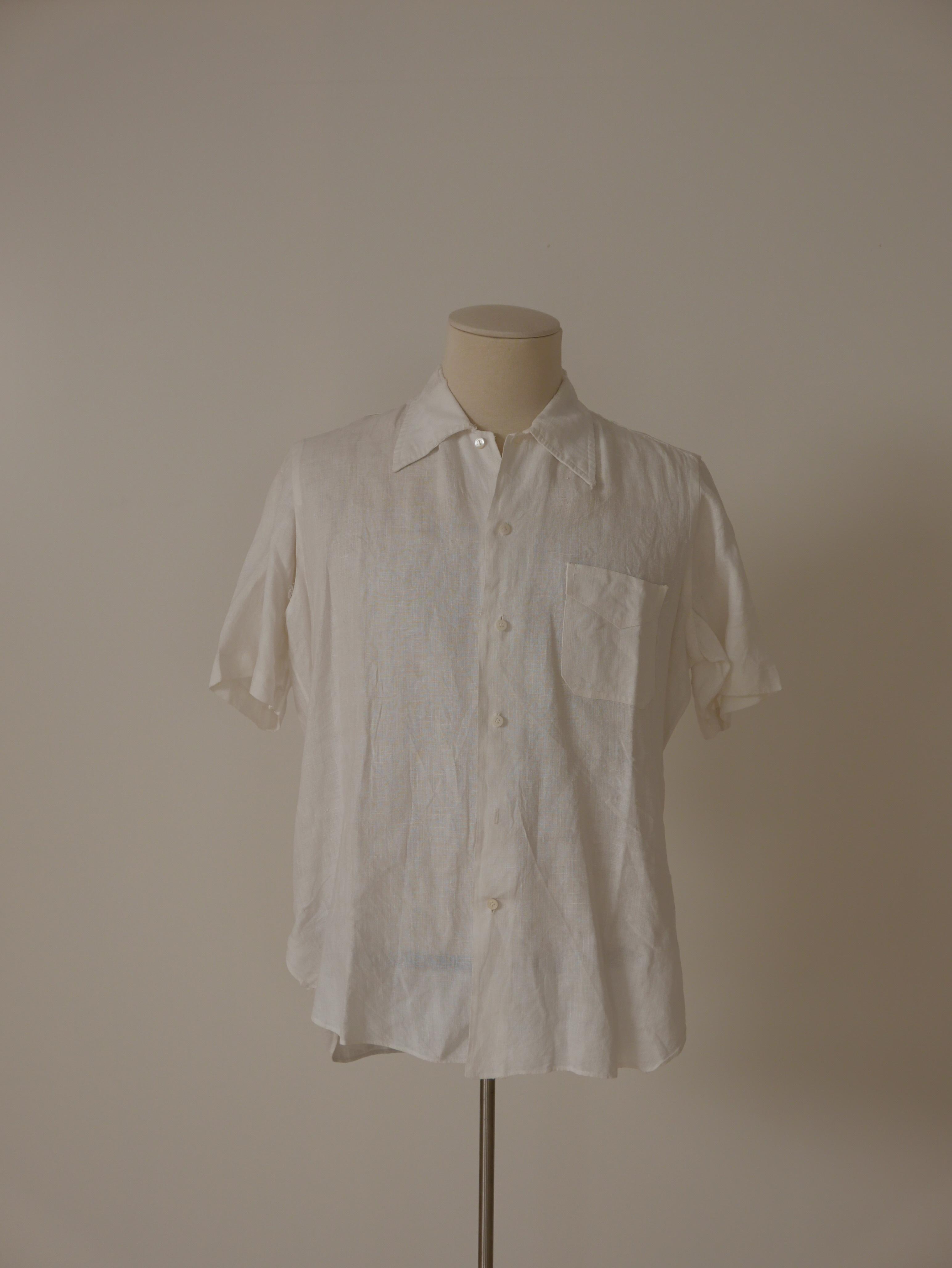 Camisa en lino blanco, de manga corta