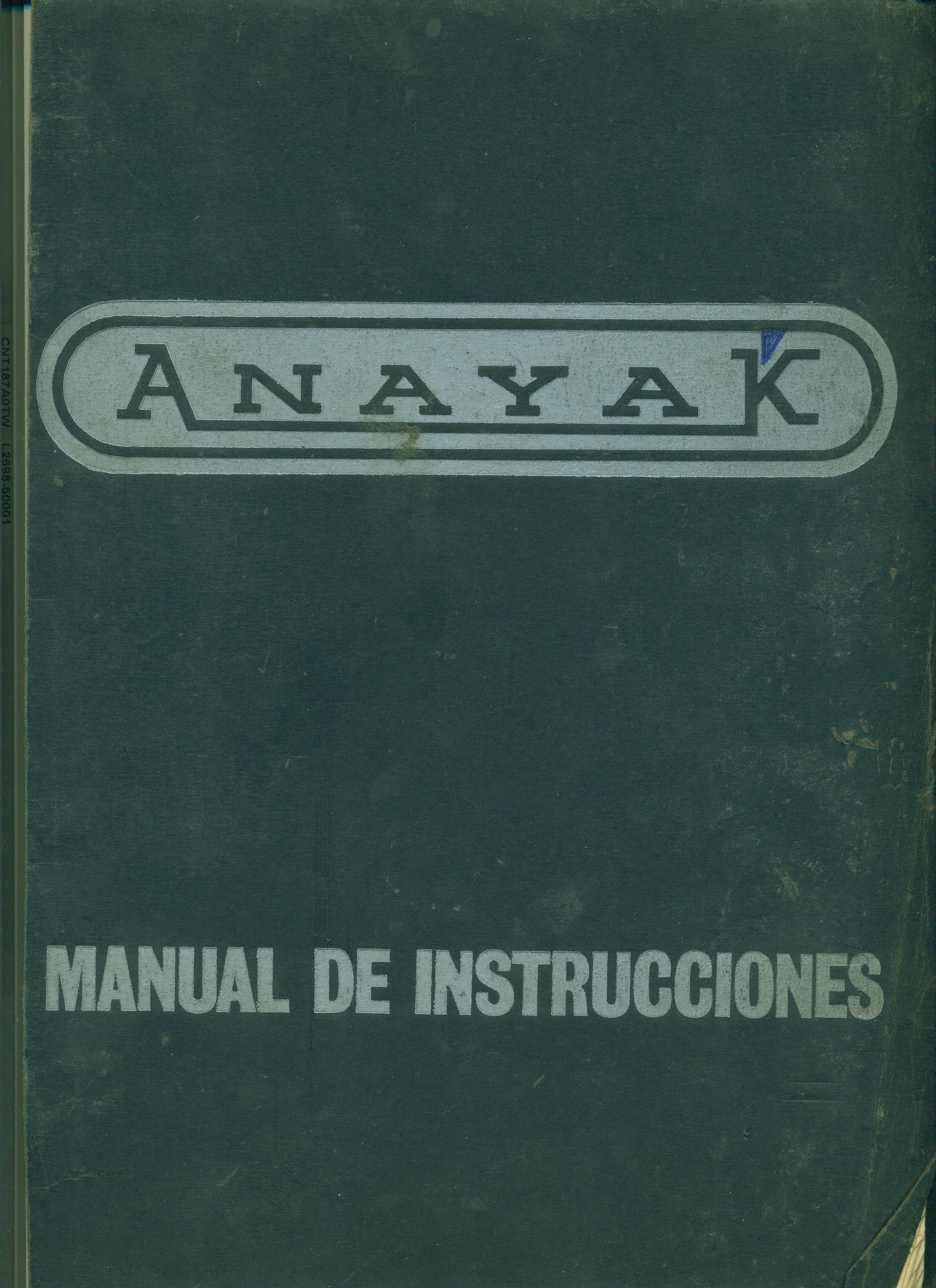 Manual de instrucciones Fresadora combinada Vertical-Horizontal ANAYAK. Mod. FU-205