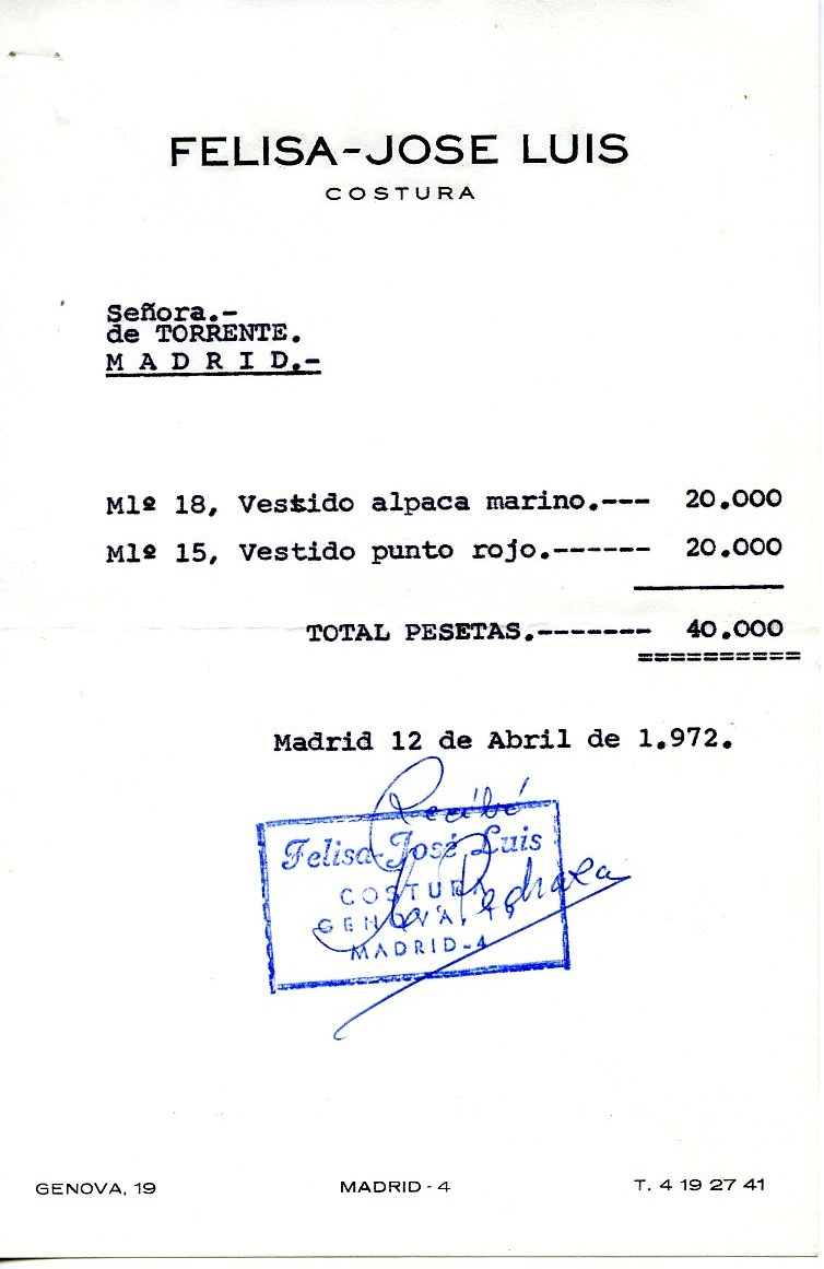 Factura de FELISA-JOSELUIS