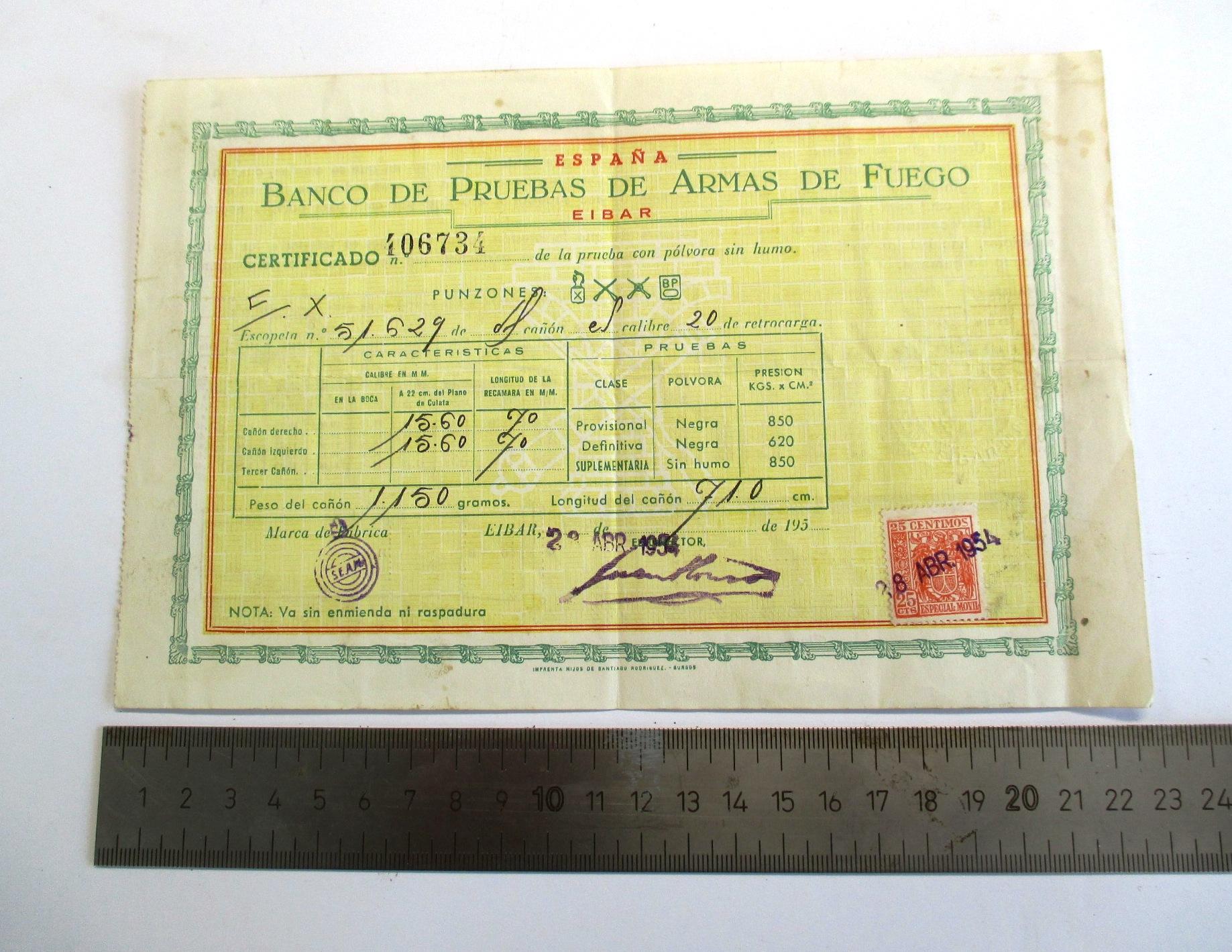 Certificado de la prueba con pólvora sin humo del Banco de Pruebas de Armas de Fuego.