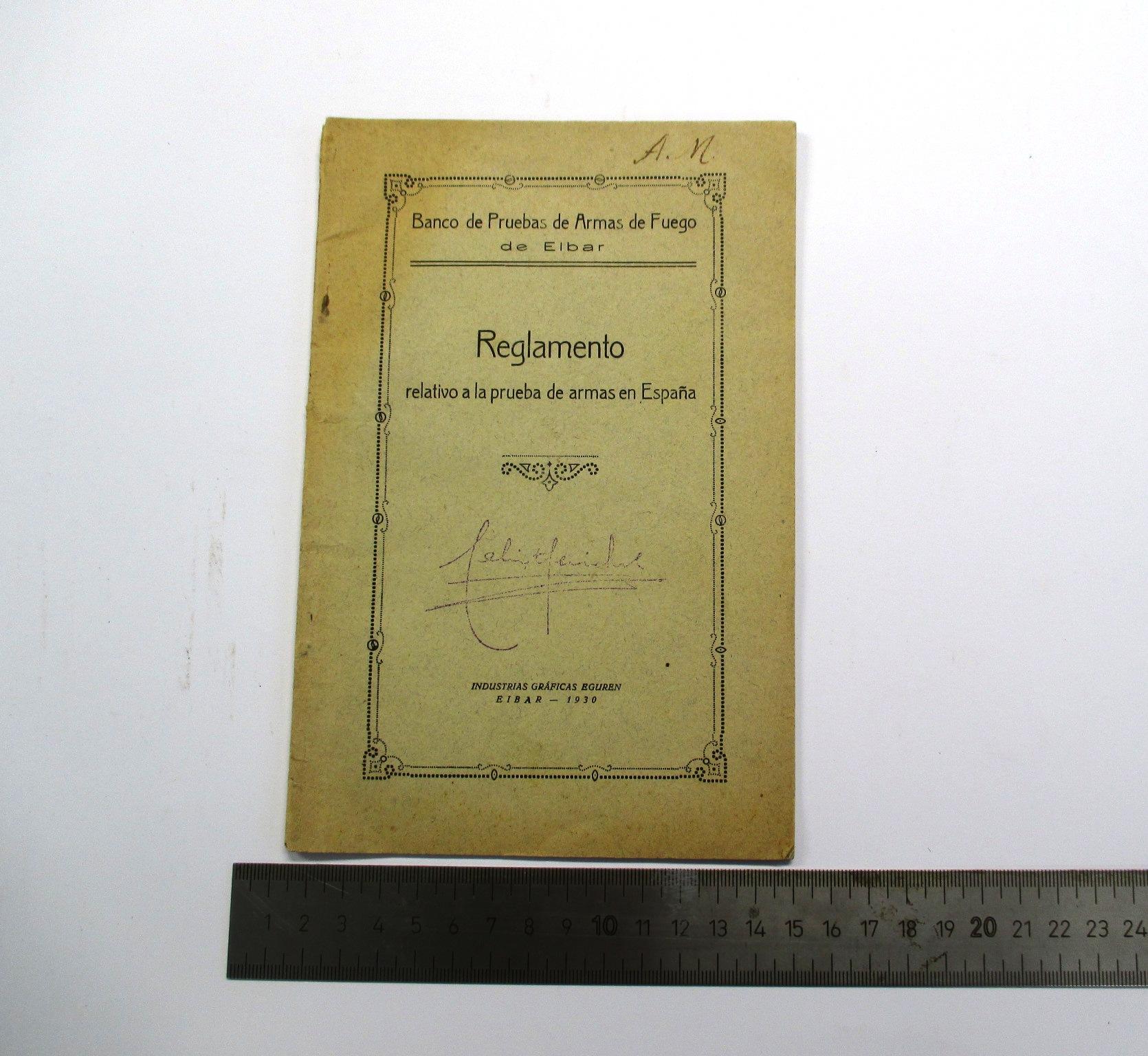 Reglamento relativo al Banco de Pruebas de Armas de Fuego de Eibar, año 1930.