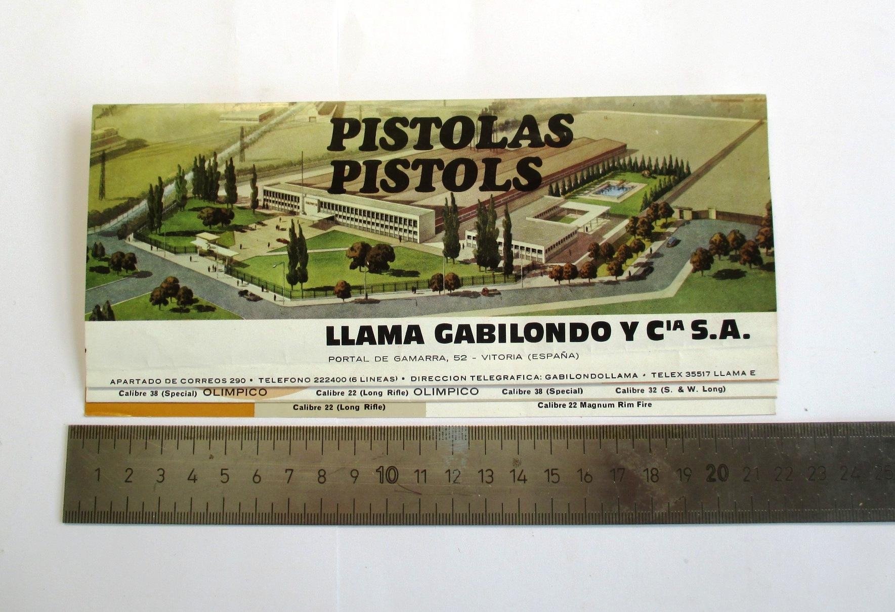 Catálogo de pistolas Llama.