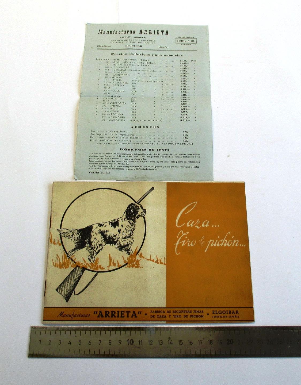 """Catálogo de escopetas """"Manufacturas Arrieta"""", y lista de precios para armerías."""