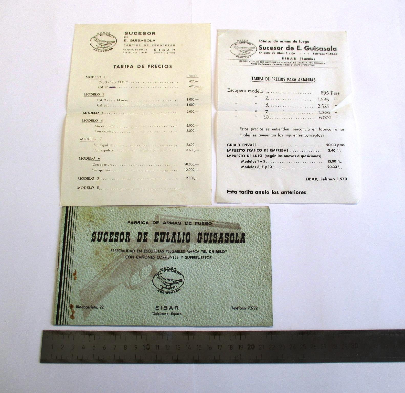 """Catálogo de escopetas marca """"El Chimbo"""" sucesor de Eulalio Guisasola, y lista de precios para armerías."""
