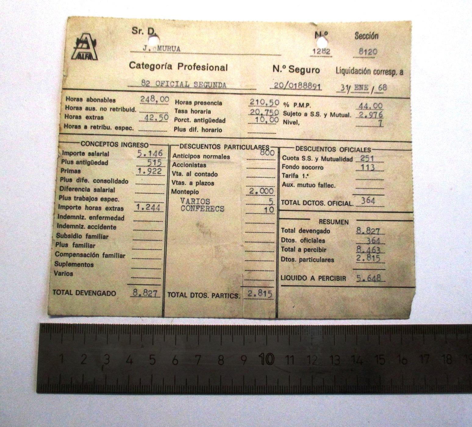 Documento de liquidación de salarios de la empresa Alfa.