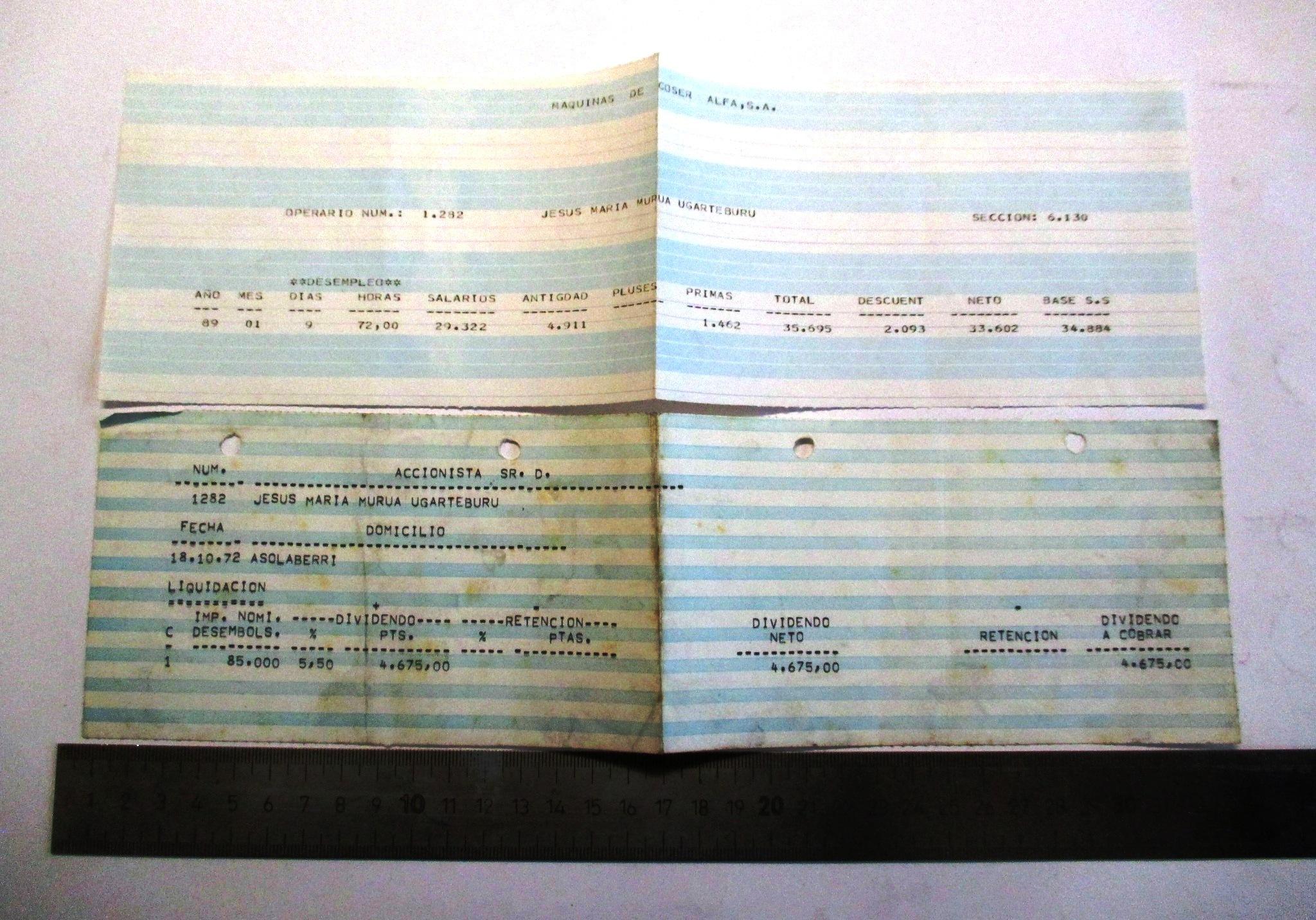 Conjunto de 2 documentos de la empresa Alfa.